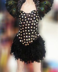 M809 Black Peacock Crystal Pageant Dress