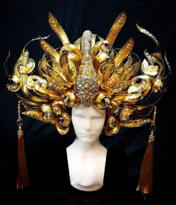 H836 Golden Swan Princess Crystal Headdress