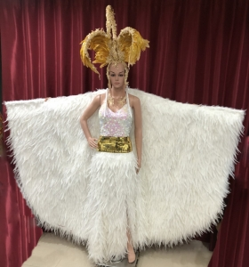 C070C Feather Red White Swan Headdress Showgirl Gown Showgirl Coat