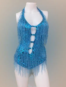 M557 Cher Inspired Bugle Beaded Showgirl Leotard Bodysuit