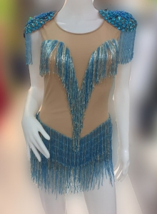 M557X Crystal Cher Inspired Bugle Beaded Showgirl Leotard