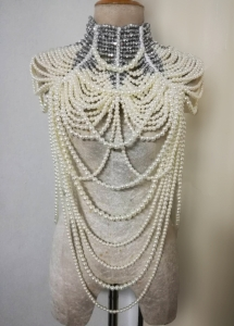 J886 Elegant Bead Pearl Necklace Choker