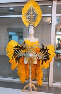 C047T Thai Asian Bird Garuda Showgirl Ostrich Feather Costume Set