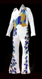 Elvis Presley Inspired Singer The King Peacock Belt Jumpsuit Costume