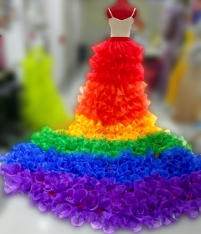 S937 Superstar Girl Gay Pride Rainbow Princess Long Tail Skirt Bustle