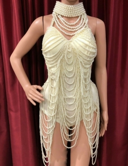 T008A Burlesque Costume Pearl Leotard