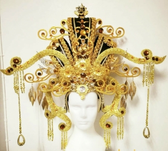 H935 Golden Asian Chinese Japan Crystal Headdress
