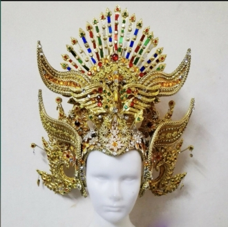 H934 God of Bull Asian Thai Indonesia Bali Showgirl Crystal Headdress