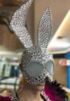 H950 Rabbit Sexy Star Crystal Mask Headdress