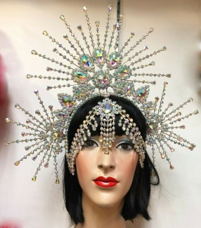 J962 Sunshine Asian Lady Crystal Headdress Crown