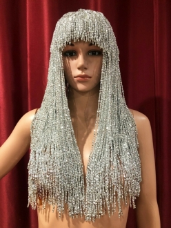M535Y Cher Bugle Beaded Hat Wig in Silver
