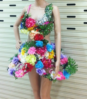 DNN C055  World Earth Flower Elegant Showgirl Dress